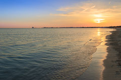 The most beautiful sandy beaches of Apulia.Salento coast: shoreline at sunset. Porto Cesareo beach. ITALY (Lecce). Stock Photo