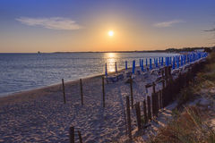 The most beautiful sandy beaches of Apulia.Salento coast: shoreline at sunset. Porto Cesareo beach. ITALY Lecce. Stock Images