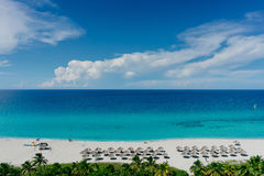 The most beautiful species in the Atlantic Ocean and beach in the resort of Varadero, Cuba Royalty Free Stock Photography