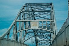 The most beautiful steel Bourne Bridge in Bourne, Massachusetts stock image