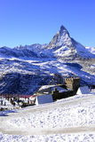 The most beautiful Swiss Alps, Matterhorn in Zermatt. With snow walking path, Switzerland stock photo
