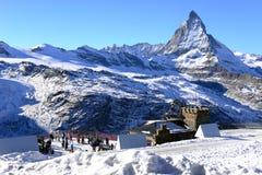 The most beautiful Swiss Alps, Matterhorn in Zermatt. With tourist, Switzerland royalty free stock photography