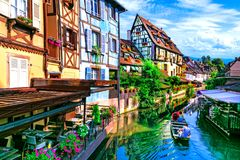 Most beautiful traditional villages of France - Colmar in Alsace. Colorful Houses in Colmar town,Alsace,France royalty free stock photo