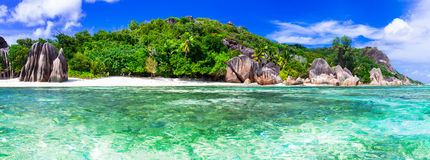 Most beautiful tropical beach - Anse source d'argent in La digue Royalty Free Stock Photos
