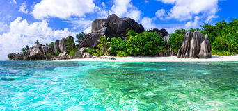 Most beautiful tropical beaches - Anse source d'argent in La dig Royalty Free Stock Photography