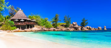 Most beautiful tropical beaches - Seychelles ,Praslin island. Impressive Praslin Island,Beautiful Beach and Azure  Sea,SEychelles Royalty Free Stock Image