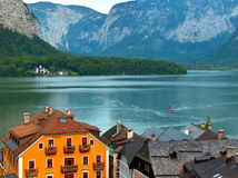 The most beautiful village in the world. Hallstatt village, mountains and lake stock photos