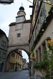 Clock Tower, Rothenburg ob der Tauber, Germany, at Christmas stock images