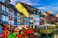 Most beautiful villages (town) of France  - Colmar in Alsace Royalty Free Stock Photography