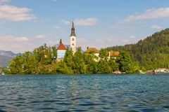 Blejski Otok, The most beautifully situated church. The most beautifully situated church in Slovenia, Blejski Otok, Bled, Slovenia Royalty Free Stock Photo