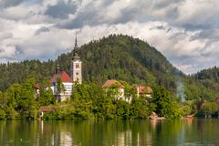 The most beautifully situated church in Slovenia, Blejski Otok. Bled, Slovenia Royalty Free Stock Image