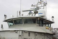 Most Belgijski statku wojennego Rycynowy berthed przy Kennedy nabrzeżem w mieście Korkowy schronienie Irlandia i nadbudowa zdjęcie stock