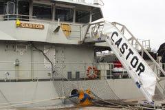 Most Belgijski statku wojennego Rycynowy berthed przy Kennedy nabrzeżem w mieście Korkowy schronienie Irlandia i nadbudowa obrazy royalty free