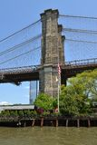 Most Brookly?ski, hybryd zostawa?, zawieszenie most w Miasto Nowy Jork/ brooklyn widok fotografia stock