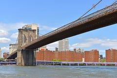 Most Brooklyński 1883, hybryd zostawał, zawieszenie most w Miasto Nowy Jork/ brooklyn widok fotografia royalty free