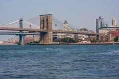 Most Brooklyński i Manhattan Przerzucamy most krzyżować Wschodnią rzekę w Nowy Jork Fotografia Stock