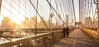 Most Brooklyński przy zmierzchem, Miasto Nowy Jork zdjęcie stock