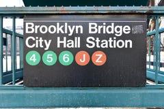 Most Brooklyński, urząd miasta stacja - Nowy Jork metro Zdjęcia Royalty Free