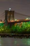 Most Brooklyński, noc Fotografia Stock