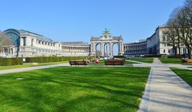 Triumphal arch in Cinquantenaire Park, Brussel, Belgium Jubelpark, Jubilee Park royalty free stock images