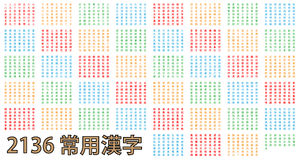 2136 of the most common Kanji in colour. 2136 of the most common Kanji used in Japan that need to be understood to read everyday newspapers Royalty Free Stock Photos