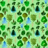 The most common trees seamless pattern on green background, hand-drawn watercolor illustration of pine, fir, willow palm. The most common trees seamless pattern royalty free illustration