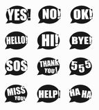 Most common used acronyms and abbreviations on word speech bubbl. Es icon on white background Royalty Free Stock Photography