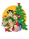 The most coveted gifts for the new year. Picture for Christmas cards for 2016 which shows a young family, which opens the gift, and everything in it, so they vector illustration
