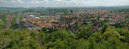 Most, Czech republic. View of the city Most from hill Hnevin in northern Bohemia, Czech republic Stock Image