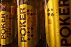 Póker Colombian beer royalty free stock images