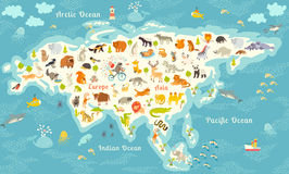 The most detailed animals world map, Eurasia. Also, birds, ocean life, reptiles, and mammals. Beautiful cheerful colorful vector i Stock Photos