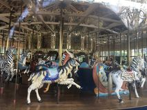 The Herschel-Spillman Carousel at the Koret Children`s Playground, Golden Gate Park, 9. This most enchanting carousel, where every one of the 62 animal rides stock images