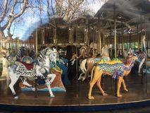 The Herschel-Spillman Carousel at the Koret Children`s Playground, Golden Gate Park, 8. This most enchanting carousel, where every one of the 62 animal rides royalty free stock photos