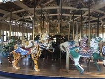 The Herschel-Spillman Carousel at the Koret Children& x27;s Playground, Golden Gate Park, 1. This most enchanting carousel, where every one of the 62 animal royalty free stock image