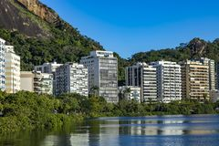 Most expensive apartments in the world. Wonderful places in the world. Lagoon and neighborhood of Ipanema, in Rio de Janeiro, Brazil, South America stock images