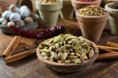 Most expensive spice in the world – dried green cardamom pods Stock Photo