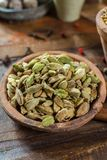 Most expensive spice in the world – dried green cardamom pods Stock Photos
