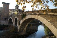 Most Fabricius w Rzym Fotografia Stock