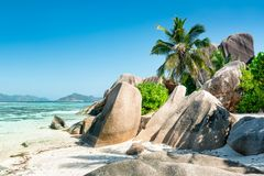 Beach at Anse Source d`Argent, La Digue, Seychelles royalty free stock photos