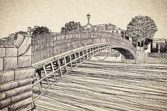 The most famous bridge in Dublin called Half penny bridge due to the toll charged for the passage - free hand sketch concept image royalty free stock photos