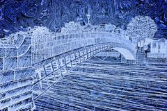 The most famous bridge in Dublin called `Half penny bridge` due to the toll charged for the passage - free hand sketch concept ima Royalty Free Stock Photos