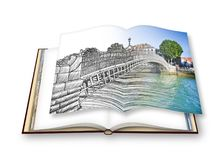 The most famous bridge in Dublin called `Half penny bridge`- freehand sketch concept image - 3D render of an opened photo book Royalty Free Stock Images