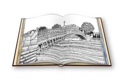 The most famous bridge in Dublin called `Half penny bridge`- freehand sketch concept image - 3D render of an opened photo book Stock Images