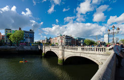 Most famous bridge in ireland,o'connell street,dublin city centre. Most famous bridge in ireland with boat,o'connell street, dublin city centre Stock Images