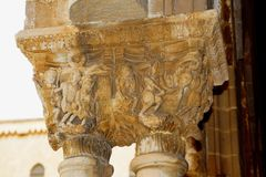 Cloister of the Benedictine monastery in the Cathedral of Monreale in Sicily. General view and details of the columns and capitals. The most famous building of Stock Images