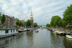 Most famous canals and embankments of Amsterdam royalty free stock images