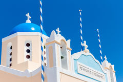 The most famous church on Santorini Island  Stock Photo