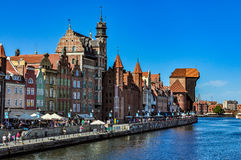 The most famous cityscape of Gdansk with the historic crane Stock Photos