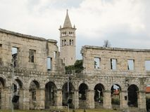 The most famous and important monument in Pula, popularly called the Arena of Pula royalty free stock photo