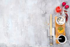 The most famous Korean traditional food Kimchi ingredients. Ingredients for cooking a famous Korean dish kimchi from radish with place under the text, top view Stock Photos